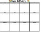 Class Birthday List - 100% Editable