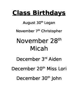 Class Birthday List