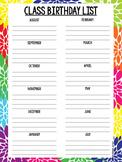 Class Birthday List Freebie