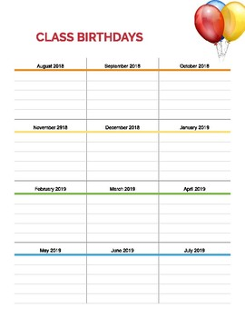 Class Birthday Planner Sheet