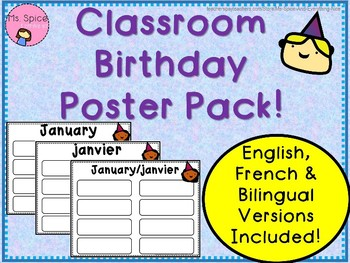Class Birthday Poster Pack English and French