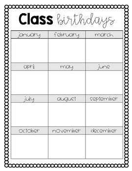 Class Birthday Printable