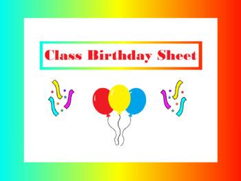 Class Birthday Sheet