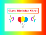 Class Birthday Sheet