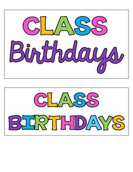 Class Birthday Sticky Notes