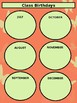 Class Birthdays Chart - Circles - Coral Butterfly Theme