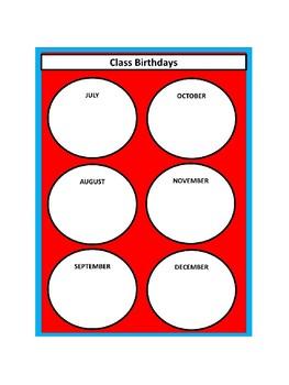 Class Birthdays Chart - Circles - Dr. Seuss Tribute Colors