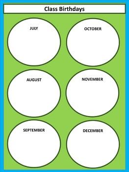 Class Birthdays Chart - Circles - Lime & Teal V.2