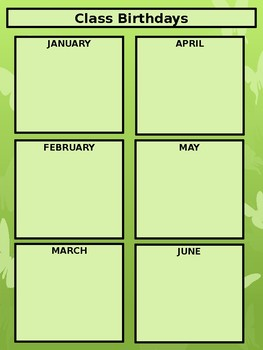 Class Birthdays Chart - Squares - Butterfly Theme