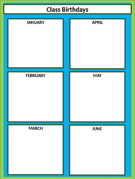 Class Birthdays Chart - Squares - Lime & Teal