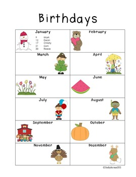 Class Birthdays - editable and GREAT for teacher binder!