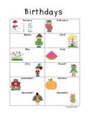 Class Birthdays - editable and GREAT for teacher binder!