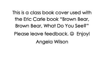 Class Book Cover for Brown Bear, Brown Bear