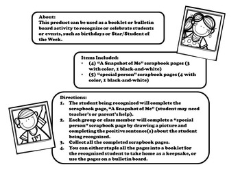 FREE Back to School: A Snapshot of Me (booklet, star student, bulletin board)