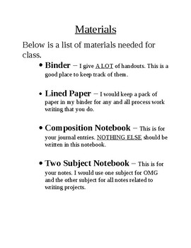 Class Booklist and Supplies List - Sixth and Seventh LA