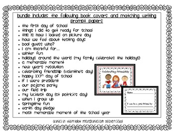 Class Books and Matching Writing Prompt Papers