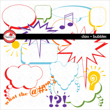 Class Bubbles: Speech and Thought Bubble Clipart by Poppydreamz