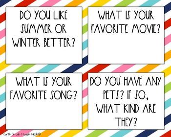 Class Building Question Cards