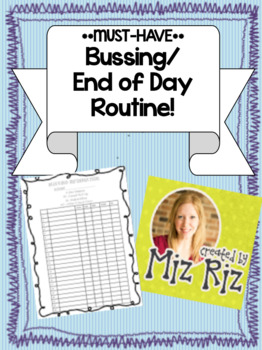 Bussing and End of Day Schedule- Great for Substitutes!