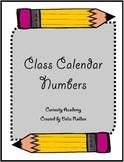 Class Calendar Numbers