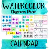Class Calendar - Watercolor Classroom Decor Theme EDITABLE
