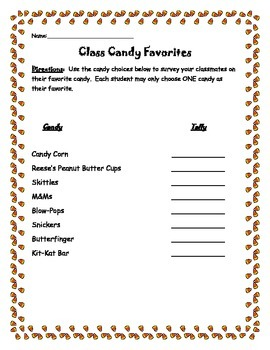 Class Candy Survey for Graphing