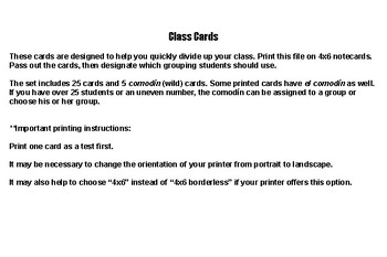 Class Cards for Assigning Groups