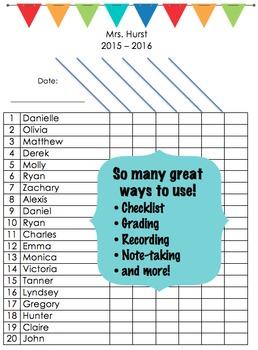 Class Checklist - EDITABLE
