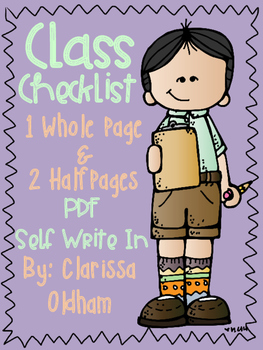 Class Checklist Whole and Half Page PDF