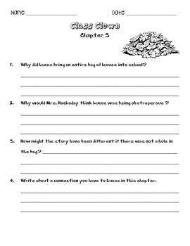 Class Clown Book Questions & Vocabulary