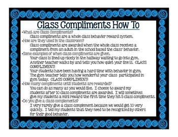 Class Compliments: A Whole Class Behavior Reward System