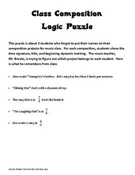 Class Composition Logic Puzzle-Easy