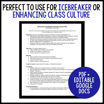 Classroom Constitution Activity - Great Icebreaker & Management Tool!
