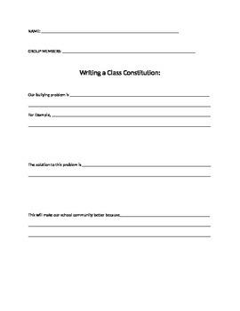 Class Constitution Model - ELA Common Core - Anti-Bullying