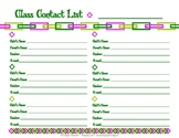 Class Contact List for Teachers and Parents