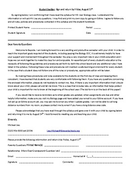 Class Contract for Students and Parents