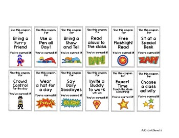 Classroom Management Behavior Coupon Incentives