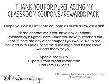 Class Coupons/Rewards