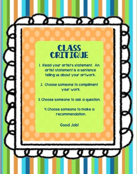 Class Critique Prompts from The Art Cart