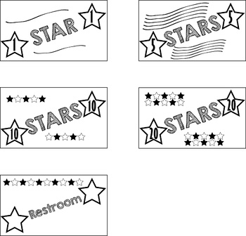 Class Currency- 1, 5, 10, 20 star notes plus Restroom Pass