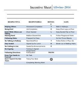 Class DOJO Incentive Sheet