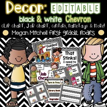Class Decor: Black & White Chevron...Editable