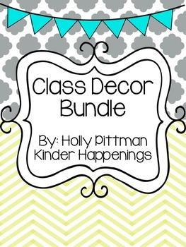 Class Decor Bundle- Teal/Yellow/Grey