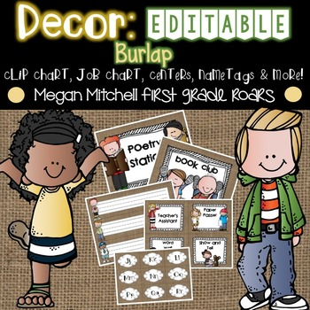 Burlap Classroom Decor Labels, Birthday, Schedule, Word Wall & More Editable