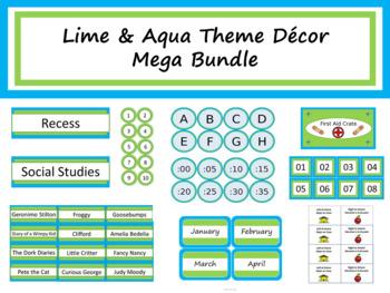 Lime & Aqua Theme Class Décor Mega Bundle