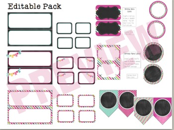 Class Decor Pack-Pink, Turquoise, and Chalkboard