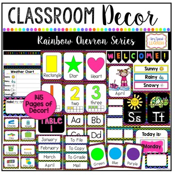 Class Decor Set- Rainbow Chevron