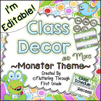 Classroom Decor Editable ~ Monster Theme