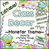 Classroom Decor Editable ~ Monster Theme