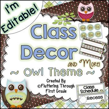 Classroom Decor Editable ~ Owl Theme